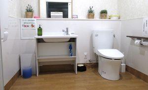 赤ちゃんのオムツ替え台付・車椅子で楽々入れるトイレ